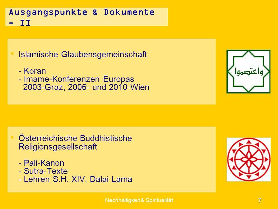 Nachhaltigkeit & Spiritualität 7 Ausgangspunkte & Dokumente - II Islamische Glaubensgemeinschaft - Koran - Imame-Konferenzen Europas 2003-Graz, 2006-
