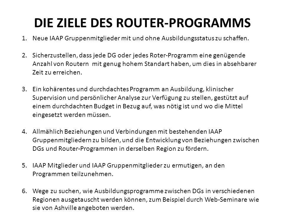 DIE ZIELE DES ROUTER-PROGRAMMS 1.Neue IAAP Gruppenmitglieder mit und ohne Ausbildungsstatus zu schaffen.