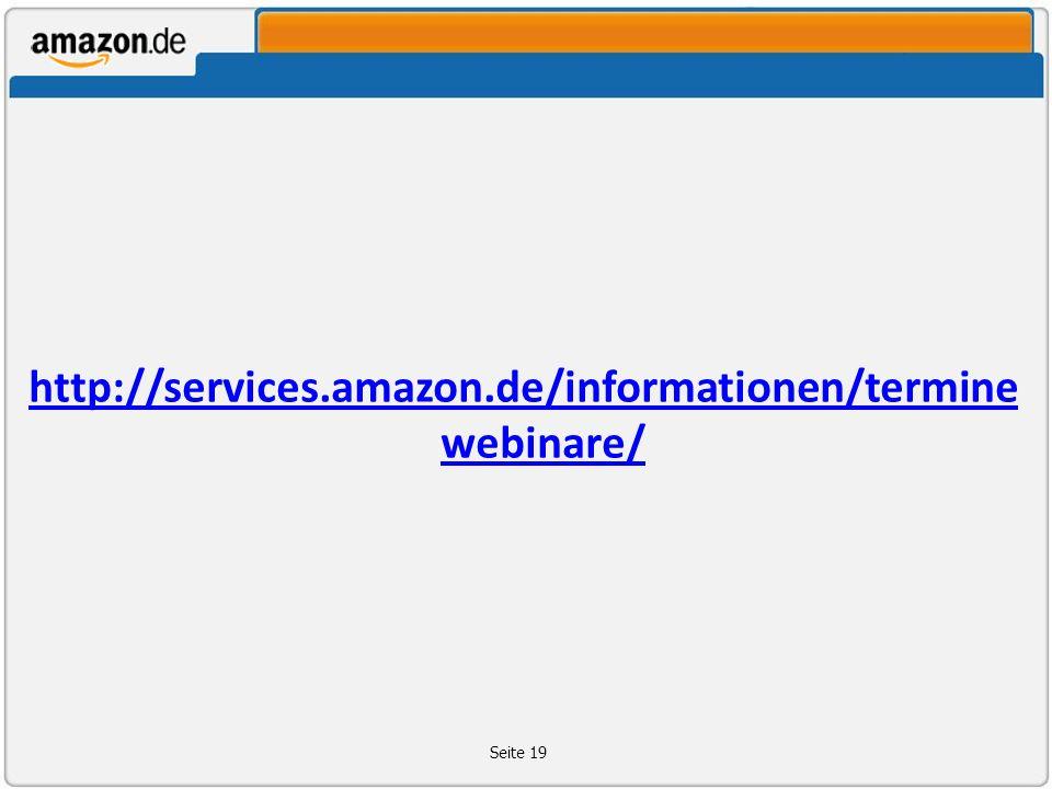 http://services.amazon.de/informationen/termine webinare/ Seite 19