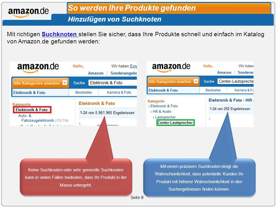 Seite 8 Mit richtigen Suchknoten stellen Sie sicher, dass Ihre Produkte schnell und einfach im Katalog von Amazon.de gefunden werden:Suchknoten Hinzuf