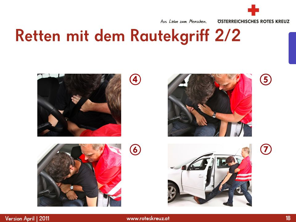 www.roteskreuz.at Version April | 2011 Retten mit dem Rautekgriff 2/2 18