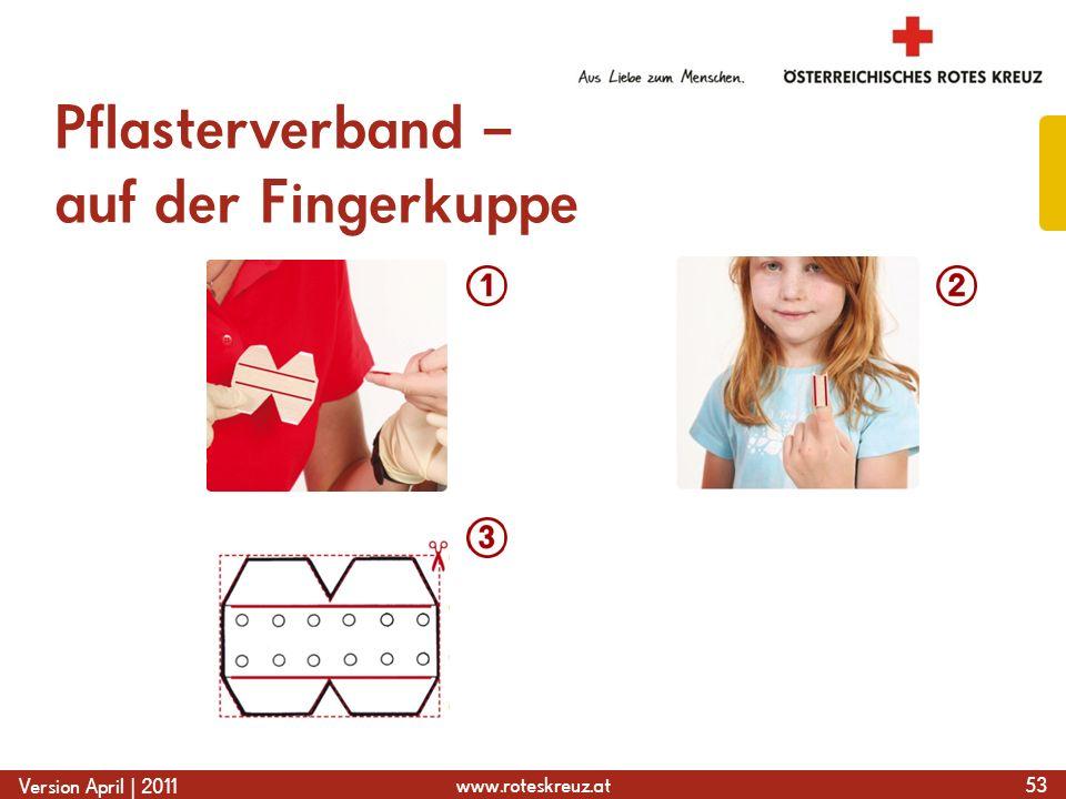 www.roteskreuz.at Version April | 2011 Pflasterverband – auf der Fingerkuppe 53