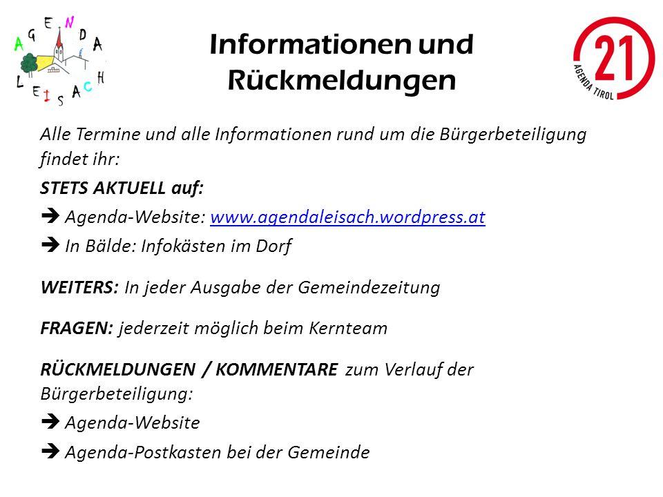 Informationen und Rückmeldungen Alle Termine und alle Informationen rund um die Bürgerbeteiligung findet ihr: STETS AKTUELL auf: Agenda-Website: www.a