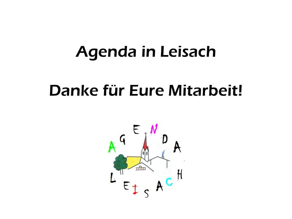 Agenda in Leisach Danke für Eure Mitarbeit!