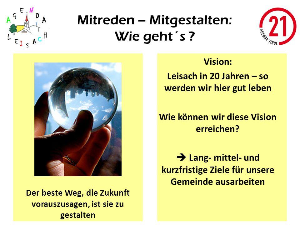 Mitreden – Mitgestalten: Wie geht´s ? Vision: Leisach in 20 Jahren – so werden wir hier gut leben Wie können wir diese Vision erreichen? Lang- mittel-