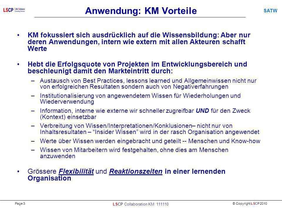 © Copyright LSCP 2010 SATW Anwendung: KM Vorteile KM fokussiert sich ausdrücklich auf die Wissensbildung: Aber nur deren Anwendungen, intern wie exter