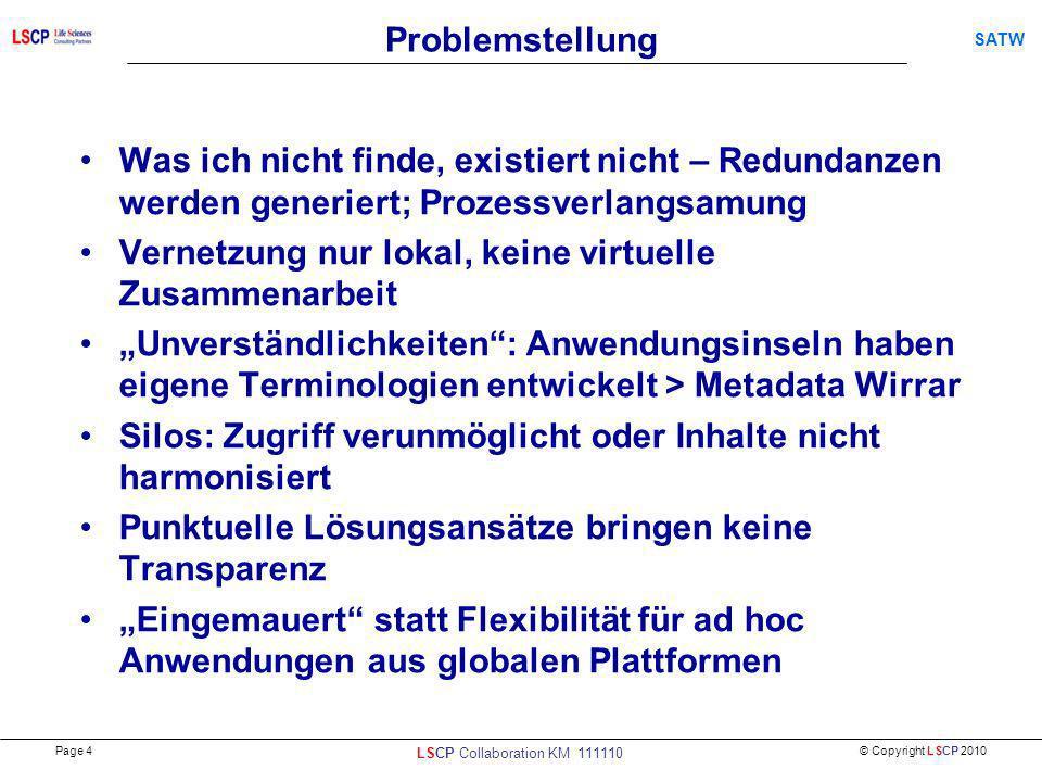 © Copyright LSCP 2010 SATW Problemstellung Was ich nicht finde, existiert nicht – Redundanzen werden generiert; Prozessverlangsamung Vernetzung nur lo
