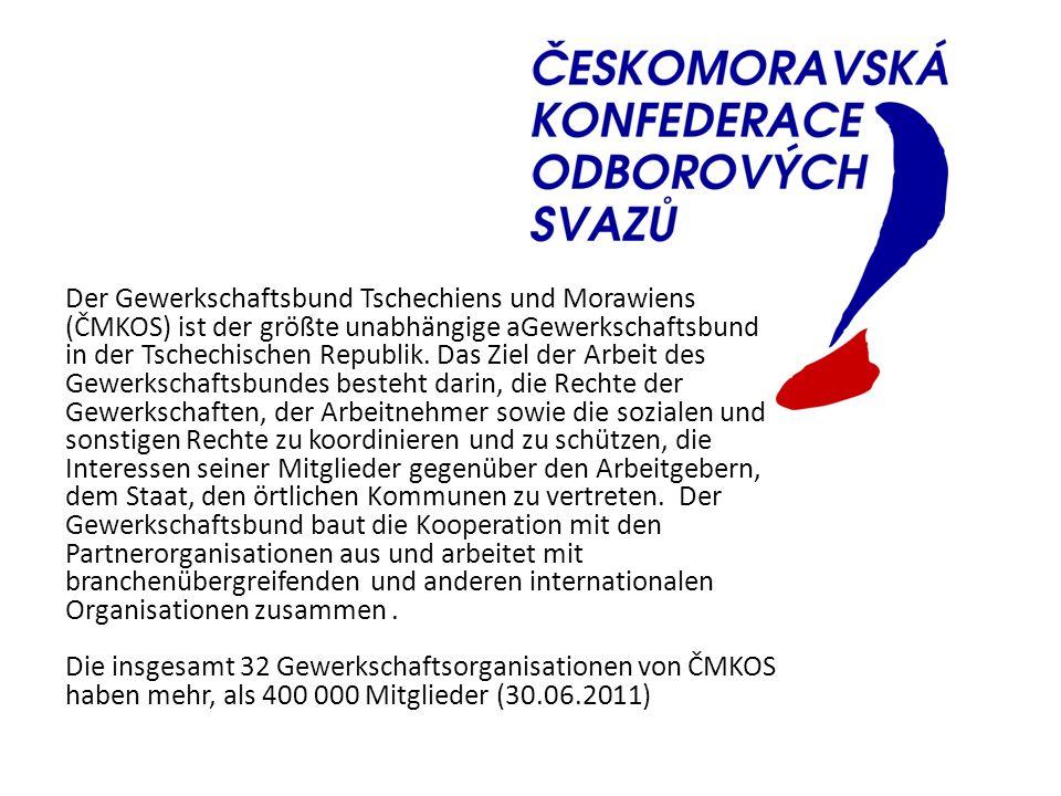 Der Gewerkschaftsbund Tschechiens und Morawiens (ČMKOS) ist der größte unabhängige aGewerkschaftsbund in der Tschechischen Republik. Das Ziel der Arbe
