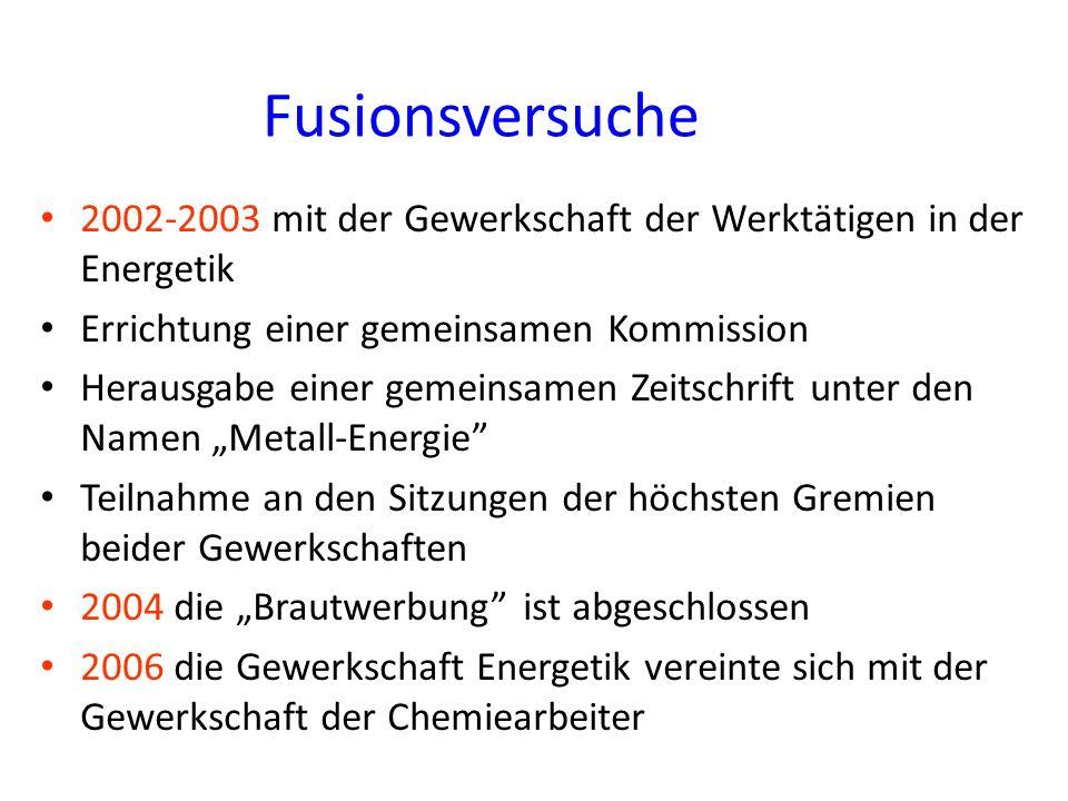 Fusionsversuche 2002-2003 mit der Gewerkschaft der Werktätigen in der Energetik Errichtung einer gemeinsamen Kommission Herausgabe einer gemeinsamen Z