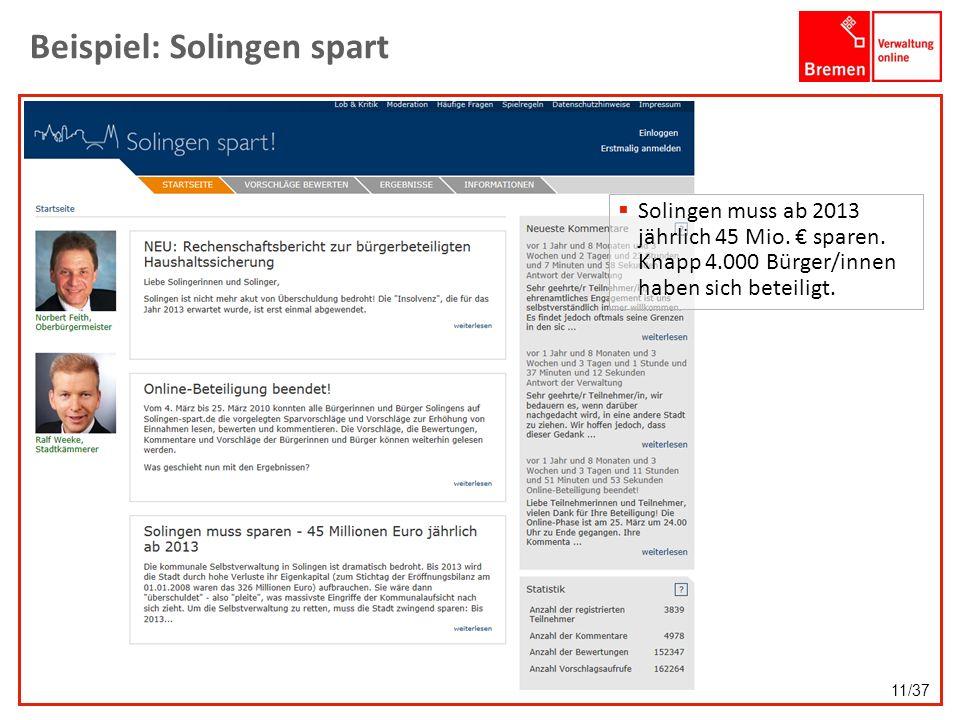 Beispiel: Solingen spart Solingen muss ab 2013 jährlich 45 Mio. sparen. Knapp 4.000 Bürger/innen haben sich beteiligt. 11/37