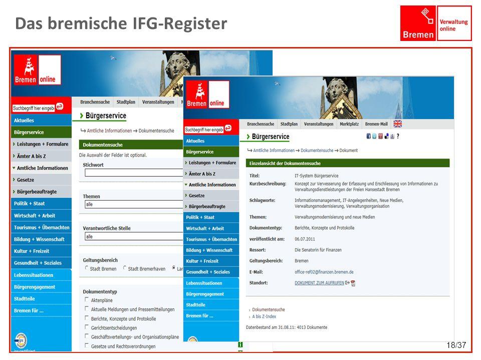 Das bremische IFG-Register 18/37