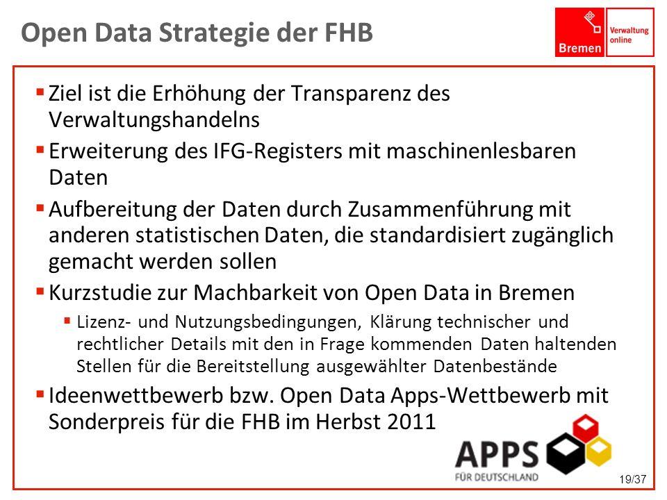Open Data Strategie der FHB Ziel ist die Erhöhung der Transparenz des Verwaltungshandelns Erweiterung des IFG-Registers mit maschinenlesbaren Daten Au