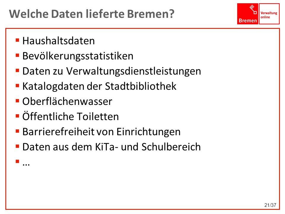 Welche Daten lieferte Bremen? Haushaltsdaten Bevölkerungsstatistiken Daten zu Verwaltungsdienstleistungen Katalogdaten der Stadtbibliothek Oberflächen