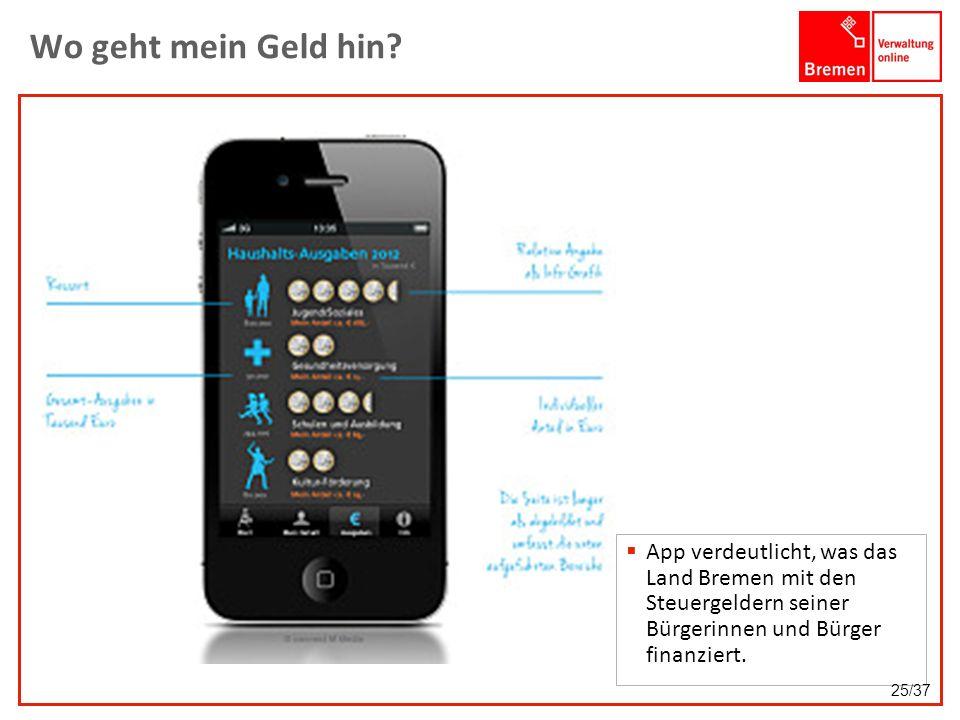 Wo geht mein Geld hin? App verdeutlicht, was das Land Bremen mit den Steuergeldern seiner Bürgerinnen und Bürger finanziert. 25/37