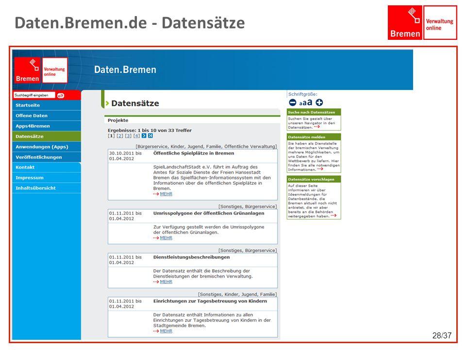 Daten.Bremen.de - Datensätze 28/37