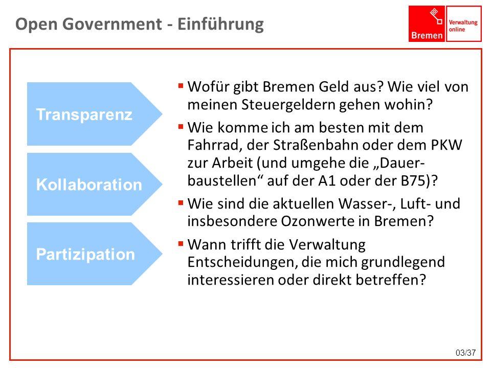 Open Government - Einführung Wofür gibt Bremen Geld aus? Wie viel von meinen Steuergeldern gehen wohin? Wie komme ich am besten mit dem Fahrrad, der S