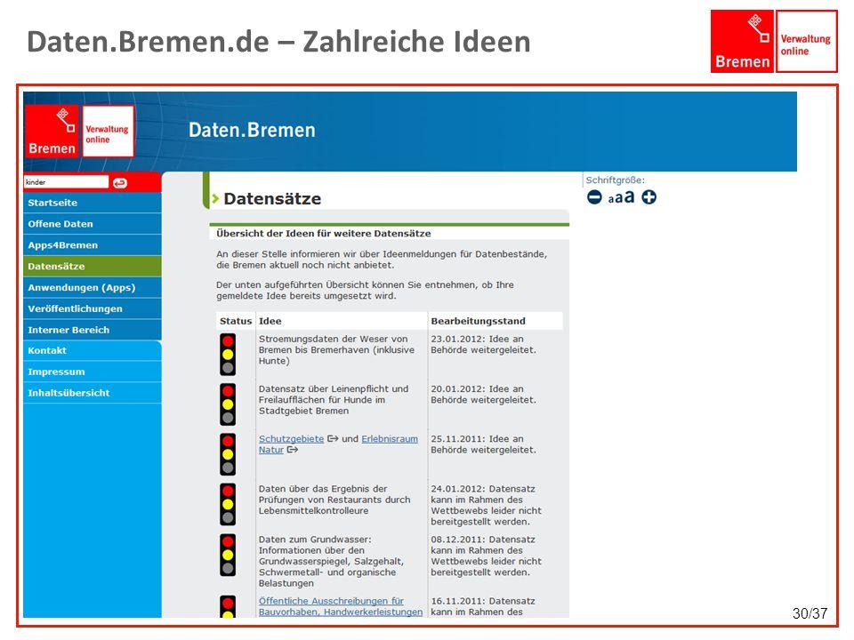 Daten.Bremen.de – Zahlreiche Ideen 30/37