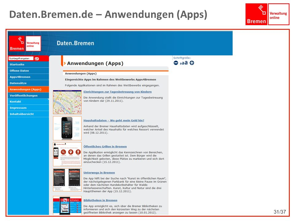 Daten.Bremen.de – Anwendungen (Apps) 31/37