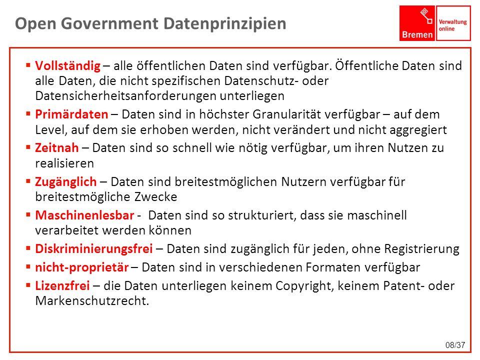 Open Government Datenprinzipien Vollständig – alle öffentlichen Daten sind verfügbar. Öffentliche Daten sind alle Daten, die nicht spezifischen Datens