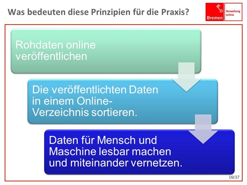Was bedeuten diese Prinzipien für die Praxis? Rohdaten online veröffentlichen Die veröffentlichten Daten in einem Online- Verzeichnis sortieren. Daten