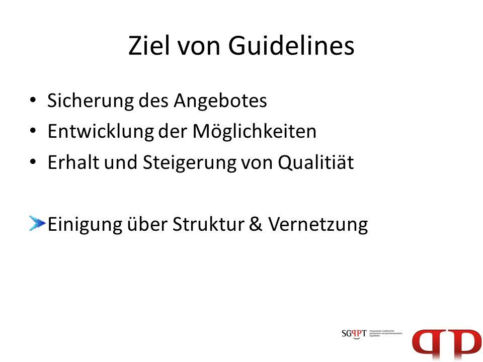 Ziel von Guidelines Sicherung des Angebotes Entwicklung der Möglichkeiten Erhalt und Steigerung von Qualitiät Einigung über Struktur & Vernetzung