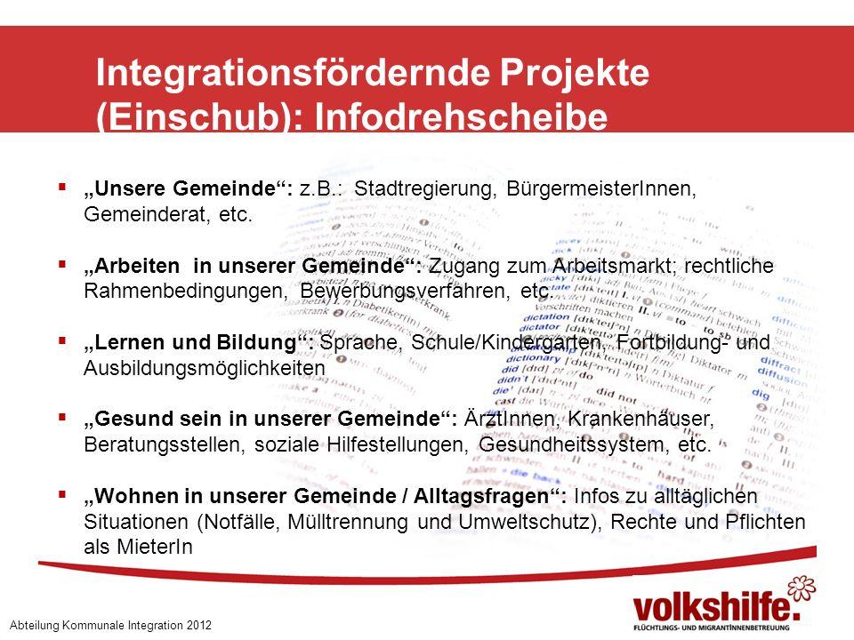 Integrationsfördernde Projekte (Einschub): Infodrehscheibe Abteilung Kommunale Integration 2012 Unsere Gemeinde: z.B.: Stadtregierung, BürgermeisterIn