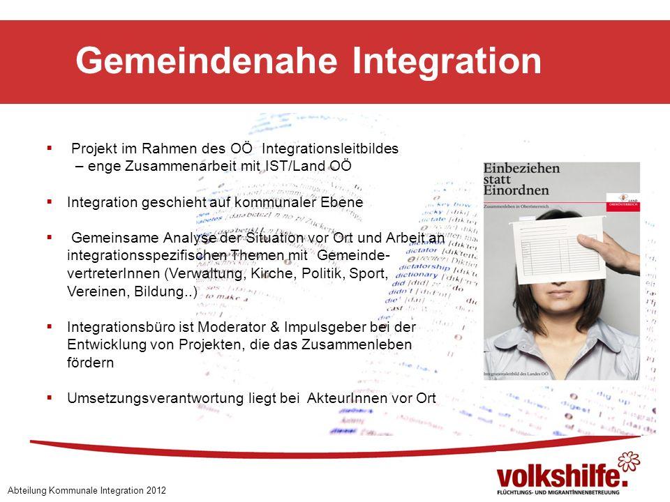 Gemeindenahe Integration Abteilung Kommunale Integration 2012 Projekt im Rahmen des OÖ Integrationsleitbildes – enge Zusammenarbeit mit IST/Land OÖ In