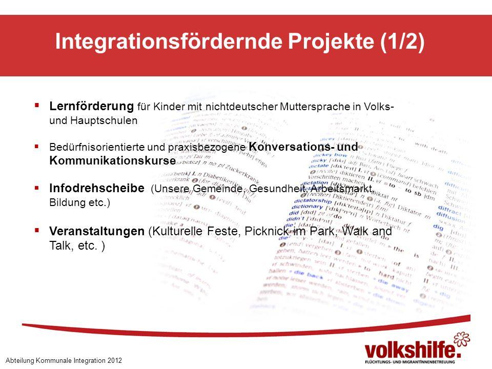 Integrationsfördernde Projekte (1/2) Abteilung Kommunale Integration 2012 Lernförderung für Kinder mit nichtdeutscher Muttersprache in Volks- und Haup