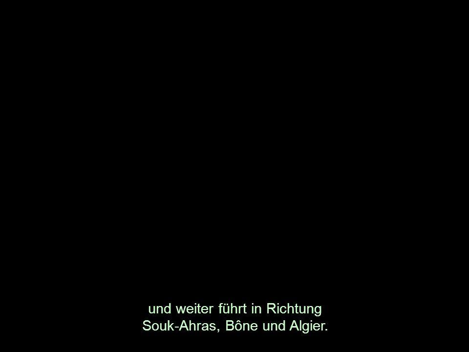 und weiter führt in Richtung Souk-Ahras, Bône und Algier.