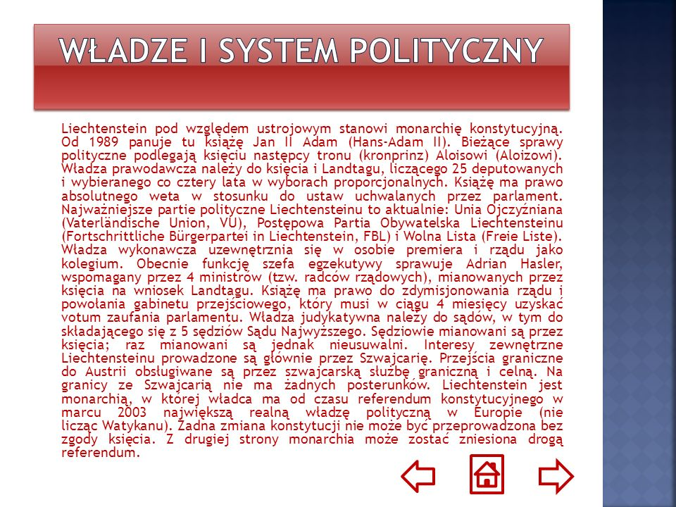 Liechtenstein definiert sich nach seiner Verfassung alskonstitutionelle Erbmonarchie auf demokratisch- parlamentarischer Grundlage.