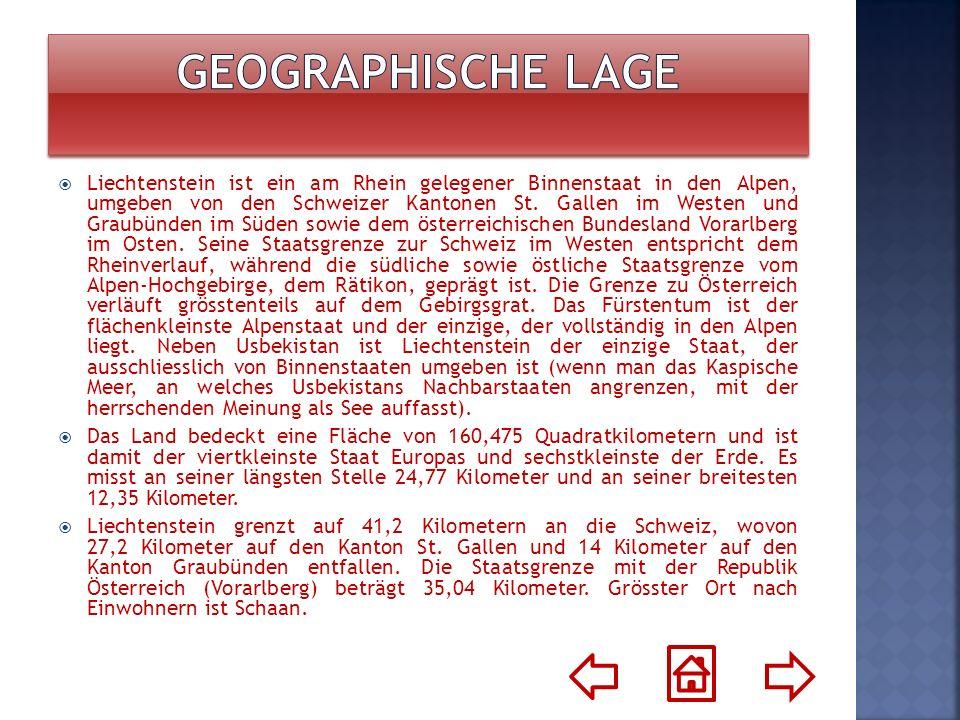 Liechtenstein ist ein am Rhein gelegener Binnenstaat in den Alpen, umgeben von den Schweizer Kantonen St. Gallen im Westen und Graubünden im Süden sow