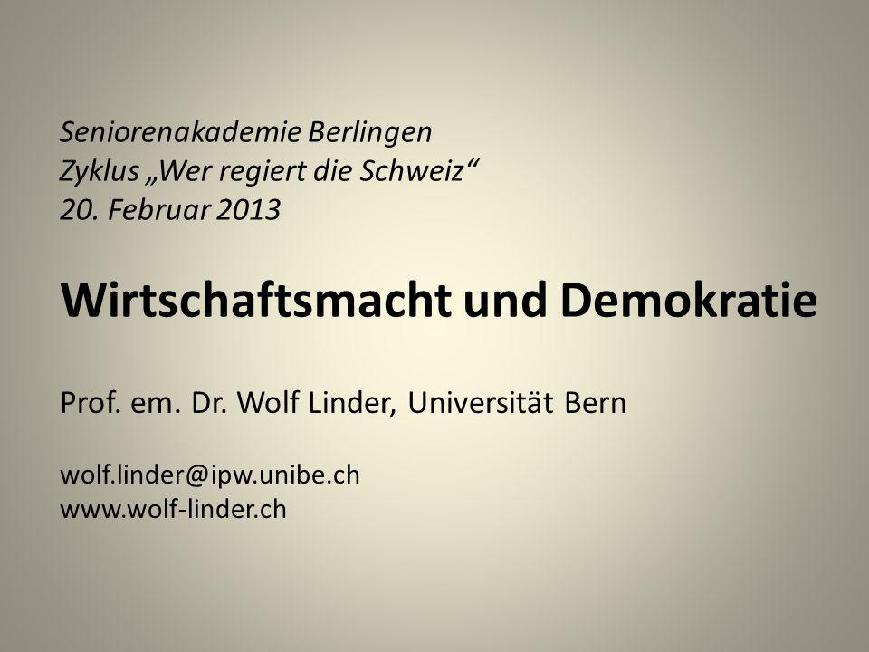 Seniorenakademie Berlingen Zyklus Wer regiert die Schweiz 20.