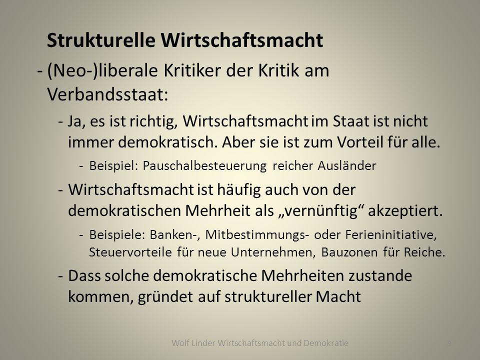 Strukturelle Wirtschaftsmacht -(Neo-)liberale Kritiker der Kritik am Verbandsstaat: -Ja, es ist richtig, Wirtschaftsmacht im Staat ist nicht immer demokratisch.