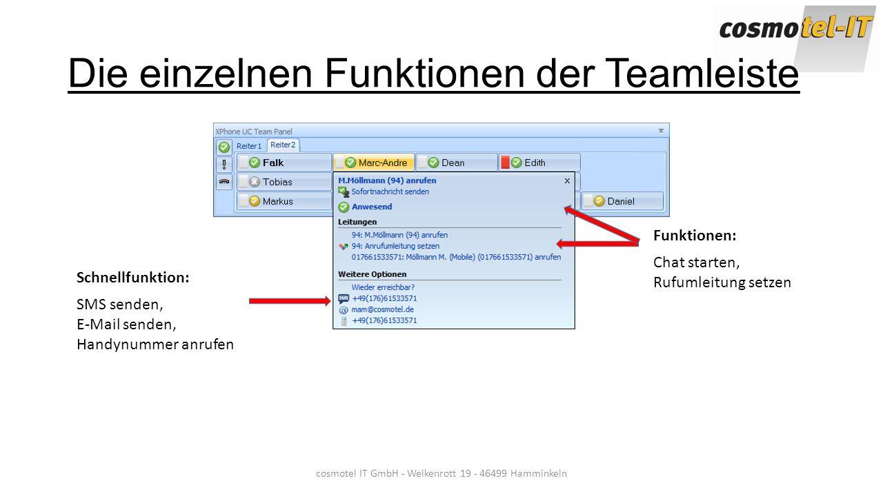 Die einzelnen Funktionen der Teamleiste cosmotel IT GmbH - Weikenrott 19 - 46499 Hamminkeln Schnellfunktion: SMS senden, E-Mail senden, Handynummer an