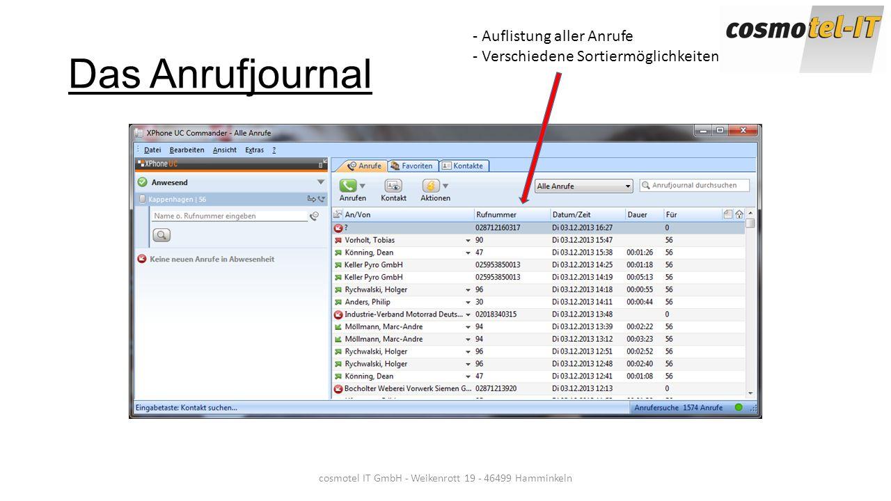 Das Anrufjournal cosmotel IT GmbH - Weikenrott 19 - 46499 Hamminkeln - Auflistung aller Anrufe - Verschiedene Sortiermöglichkeiten