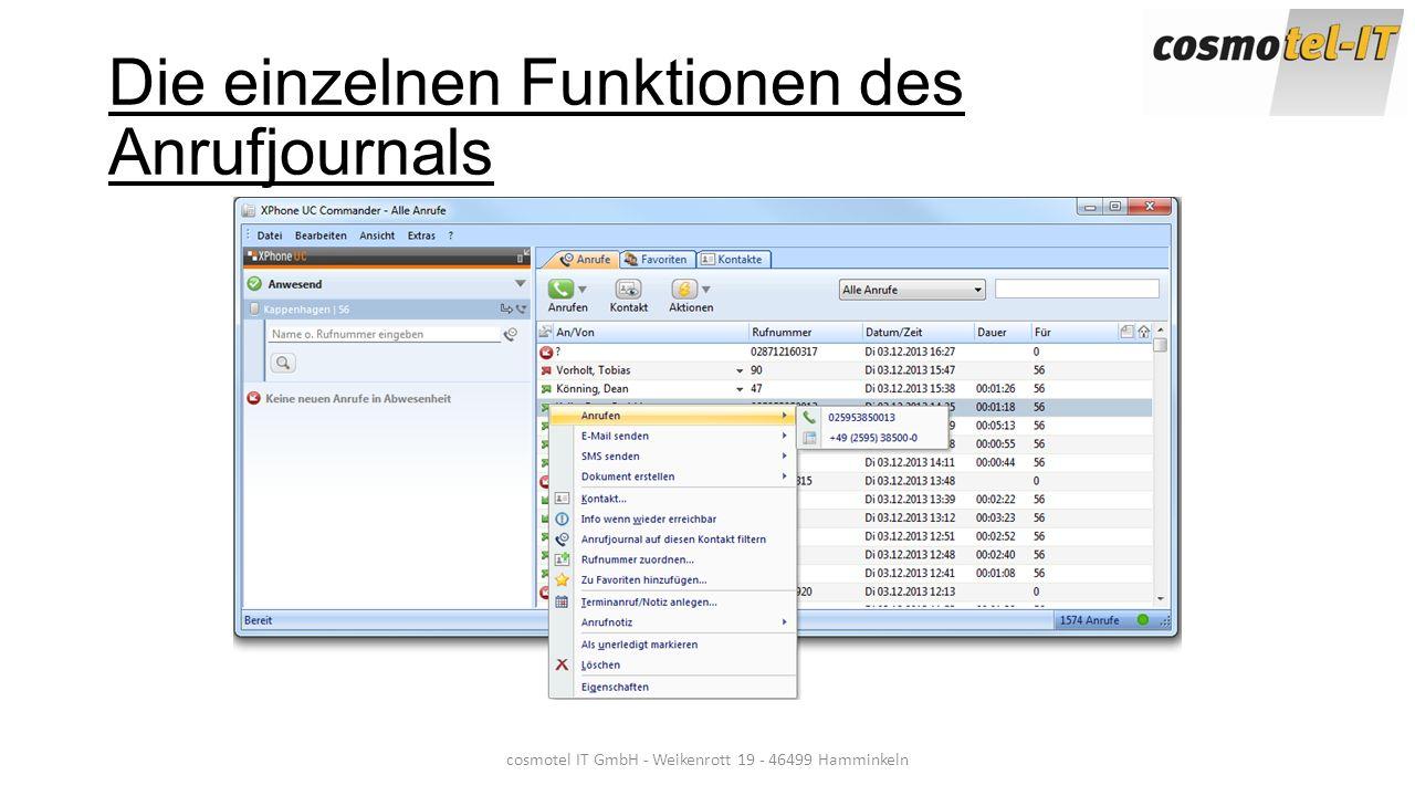 Die einzelnen Funktionen des Anrufjournals cosmotel IT GmbH - Weikenrott 19 - 46499 Hamminkeln