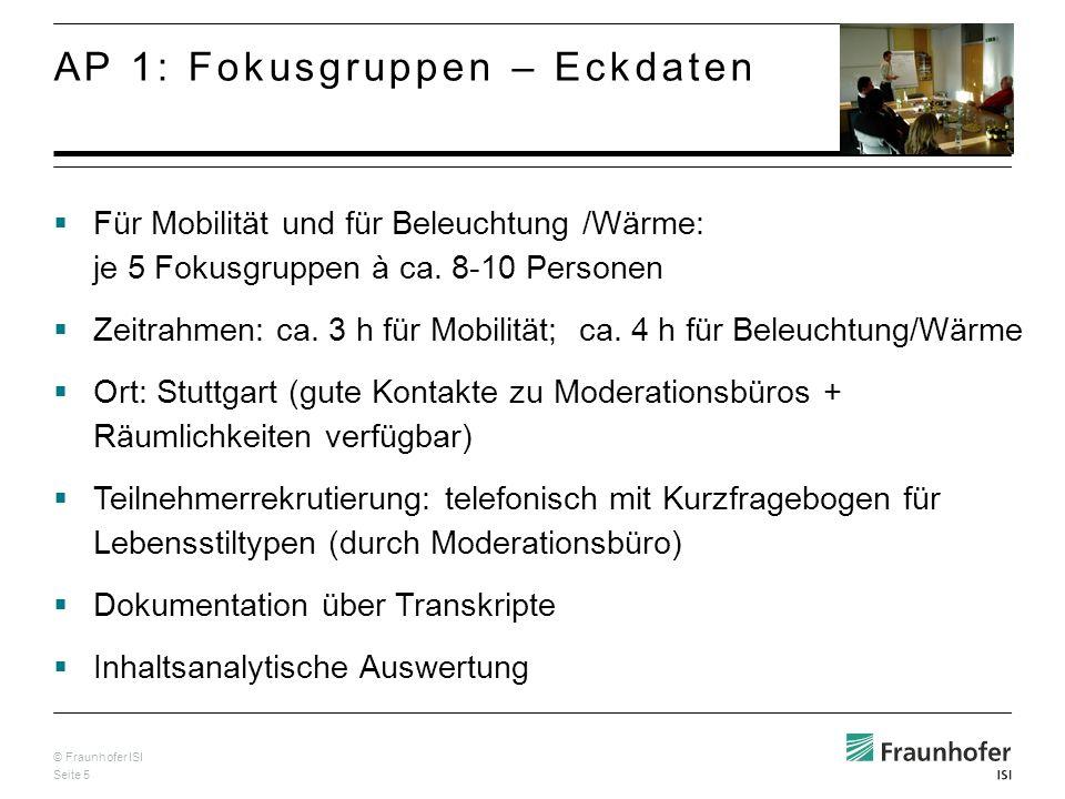 © Fraunhofer ISI Seite 5 Für Mobilität und für Beleuchtung /Wärme: je 5 Fokusgruppen à ca.