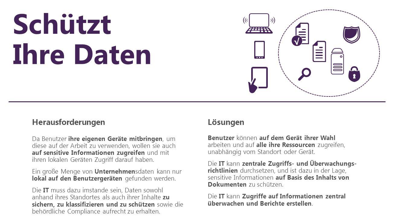 Schützt Ihre Daten HerausforderungenLösungen Da Benutzer ihre eigenen Geräte mitbringen, um diese auf der Arbeit zu verwenden, wollen sie auch auf sen