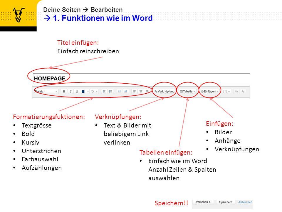 Deine Seiten Bearbeiten 1. Funktionen wie im Word Formatierungsfuktionen: Textgrösse Bold Kursiv Unterstrichen Farbauswahl Aufzählungen Speichern!! Ve