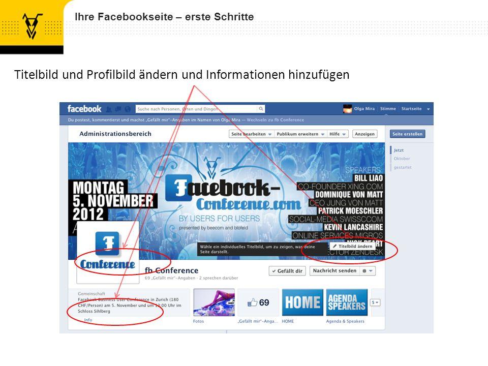 Ihre Facebookseite – erste Schritte Titelbild und Profilbild ändern und Informationen hinzufügen
