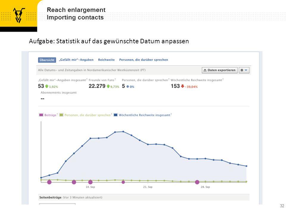 32 Reach enlargement Importing contacts Aufgabe: Statistik auf das gewünschte Datum anpassen