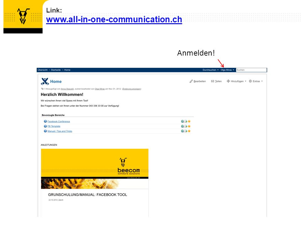 Link: www.all-in-one-communication.ch Anmelden!