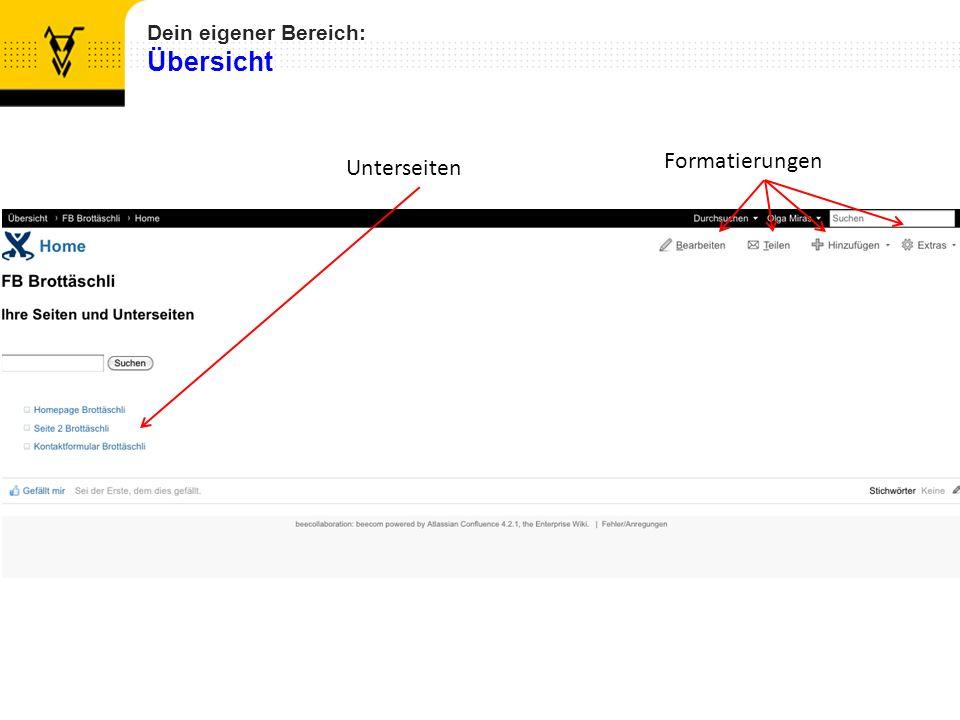 Wenn Sie auf die Funktion «Bearbeiten» klicken, können Sie die aktuelle Seite so umgestalten, wie Sie es wünschen.