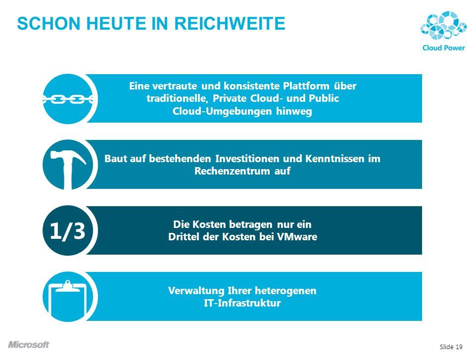 SCHON HEUTE IN REICHWEITE Slide 19 Eine vertraute und konsistente Plattform über traditionelle, Private Cloud- und Public Cloud-Umgebungen hinweg Baut auf bestehenden Investitionen und Kenntnissen im Rechenzentrum auf Die Kosten betragen nur ein Drittel der Kosten bei VMware Verwaltung Ihrer heterogenen IT-Infrastruktur 1/3
