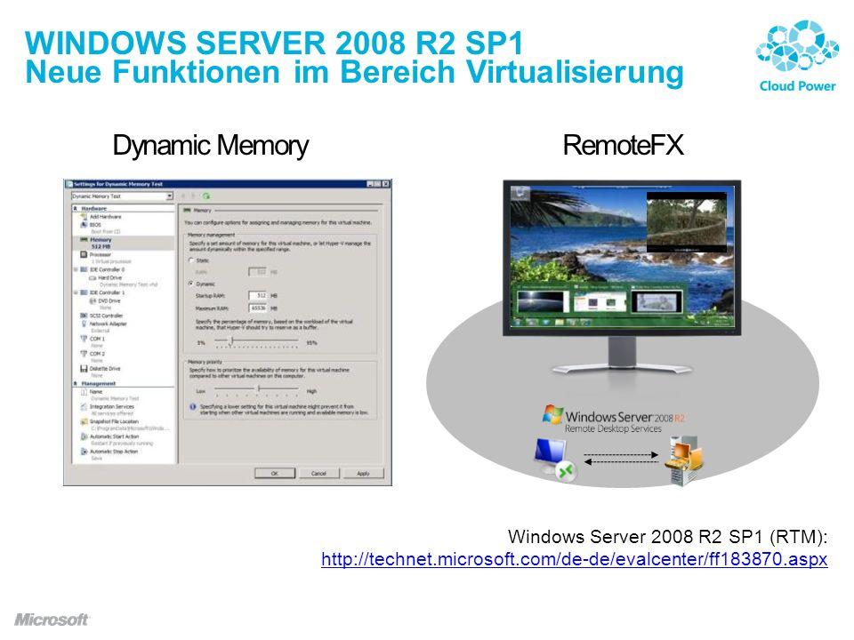 WINDOWS SERVER 2008 R2 SP1 Neue Funktionen im Bereich Virtualisierung Dynamic MemoryRemoteFX Windows Server 2008 R2 SP1 (RTM): http://technet.microsoft.com/de-de/evalcenter/ff183870.aspx http://technet.microsoft.com/de-de/evalcenter/ff183870.aspx