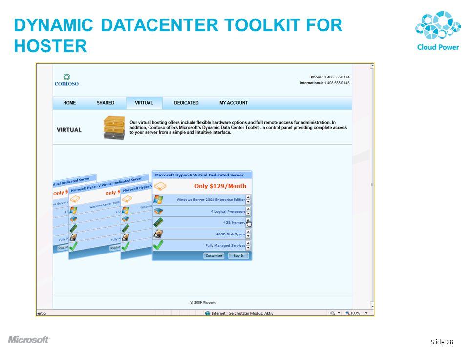 DYNAMIC DATACENTER TOOLKIT FOR HOSTER Slide 28