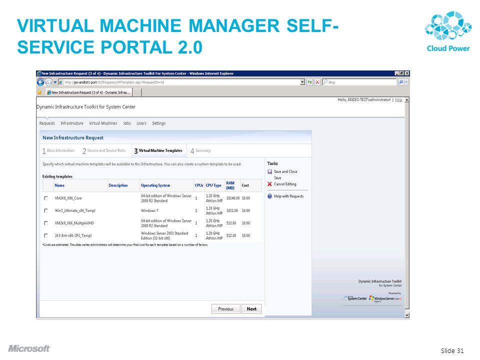VIRTUAL MACHINE MANAGER SELF- SERVICE PORTAL 2.0 Slide 31