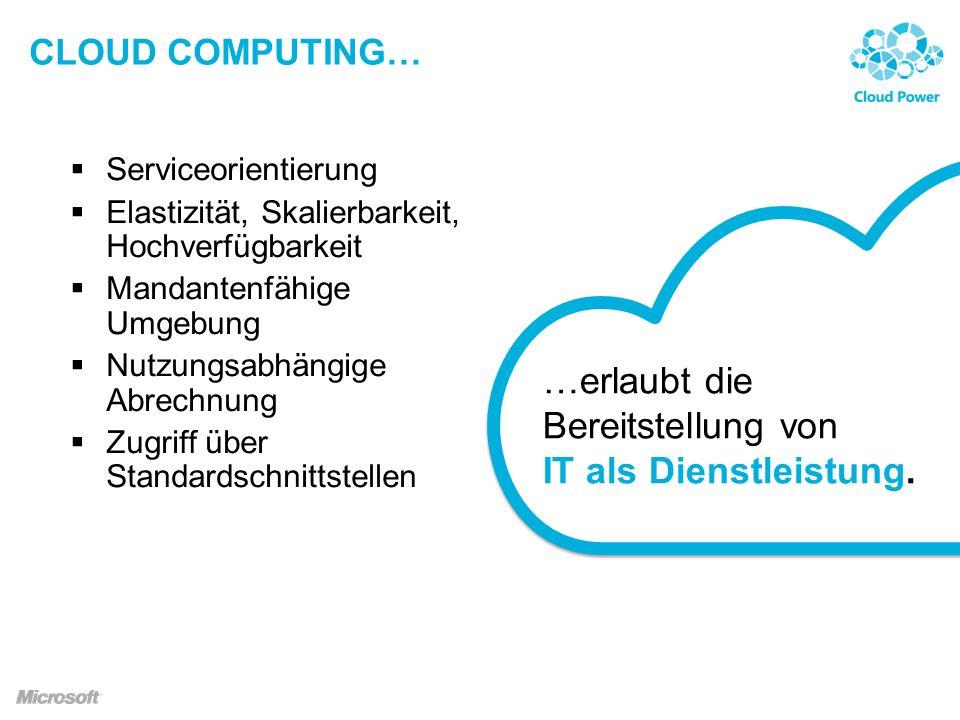 CLOUD COMPUTING… Serviceorientierung Elastizität, Skalierbarkeit, Hochverfügbarkeit Mandantenfähige Umgebung Nutzungsabhängige Abrechnung Zugriff über Standardschnittstellen …erlaubt die Bereitstellung von IT als Dienstleistung.