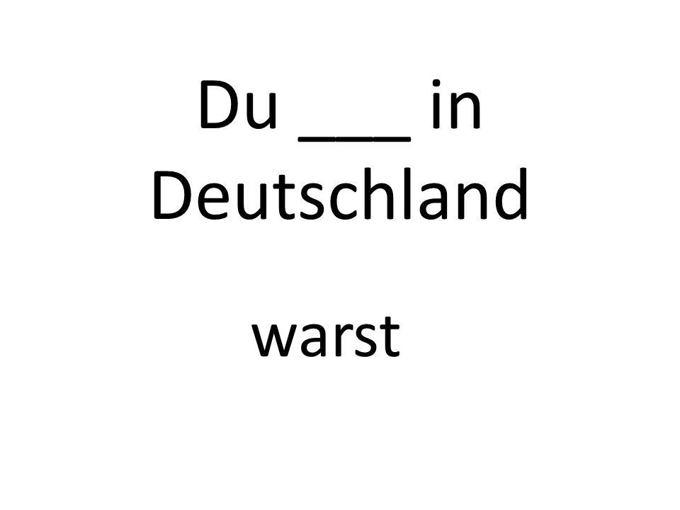 Du ___ in Deutschland warst