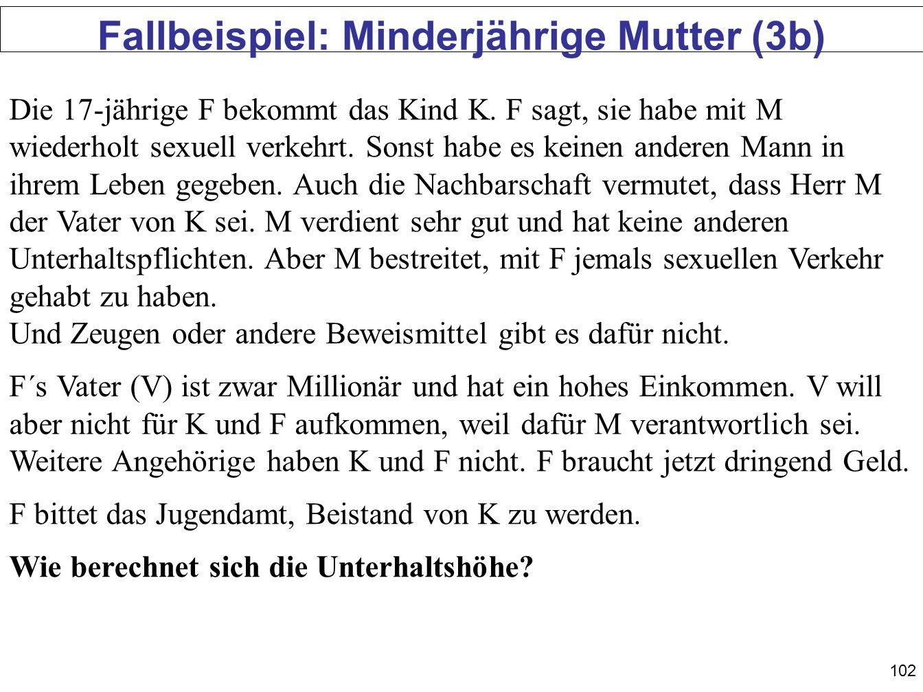 102 Fallbeispiel: Minderjährige Mutter (3b) Die 17-jährige F bekommt das Kind K. F sagt, sie habe mit M wiederholt sexuell verkehrt. Sonst habe es kei